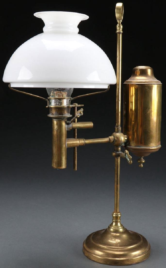 A BRASS STUDENTS OIL LAMP, 19TH CENTURY