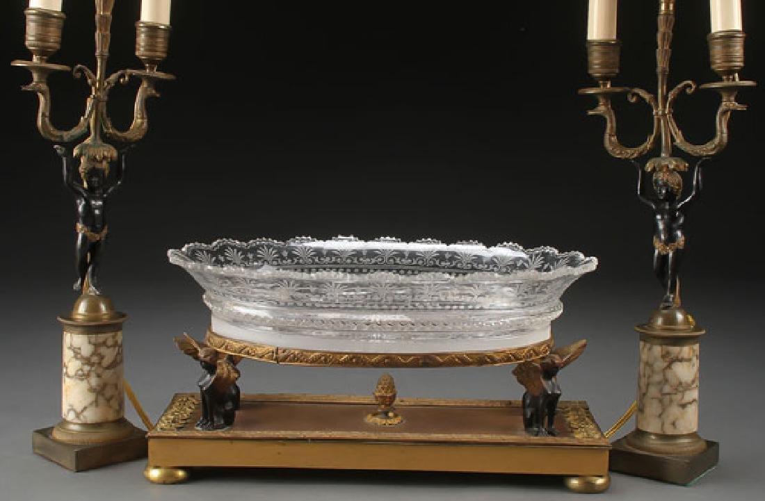 FRENCH EMPIRE GLASS & BRONZE CONSOLE SET - 2