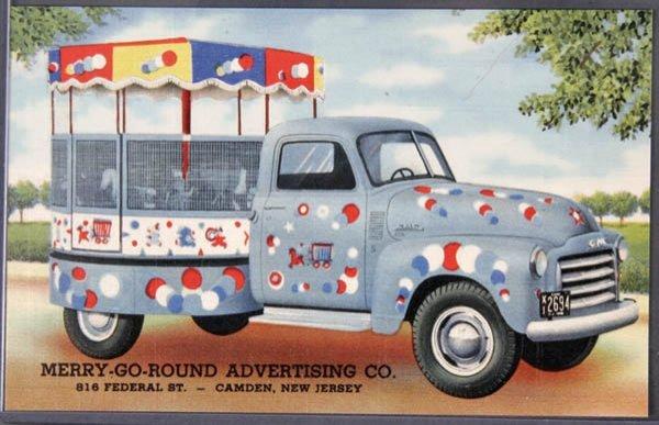 8: A LINEN ADVERTISING POSTCARD Merry Go Round Truck