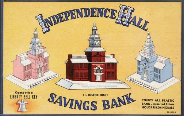 11: A RARE LINEN ADVERTISING POSTCARD Still Bank Adve
