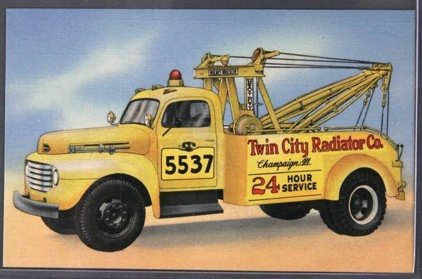 14: A LINEN ADVERTISING POSTCARD Wrecking Truck, Cham
