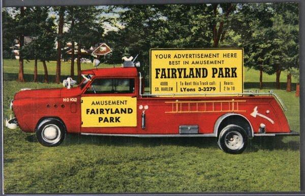15: A LINEN ADVERTISING POSTCARD Fire Engine Advertis