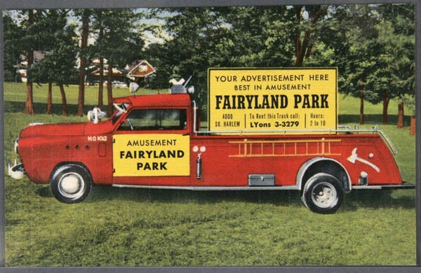 16: A LINEN ADVERTISING POSTCARD Fire engine used for