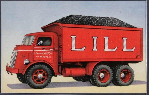 17: A LINEN ADVERTISING POSTCARD Lill Coal Truck, min