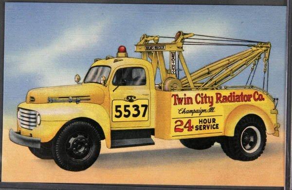 18: A LINEN ADVERTISING POSTCARD Wrecking Truck, Cham
