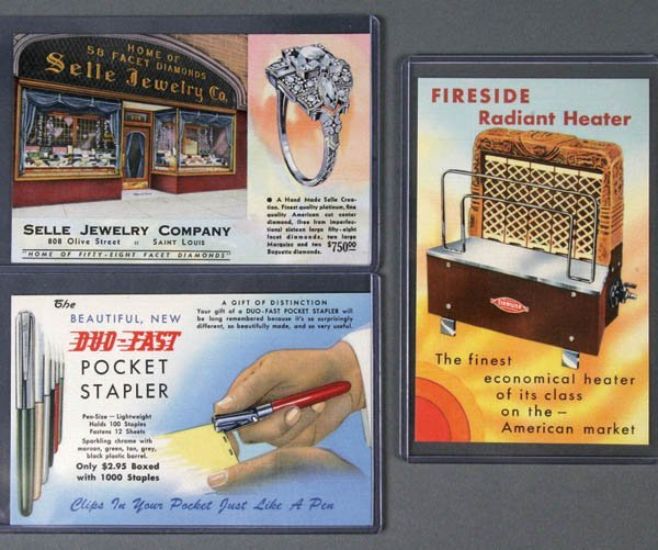 20: 3 LINEN ADVERTISING POSTCARDS Good Products - Dia