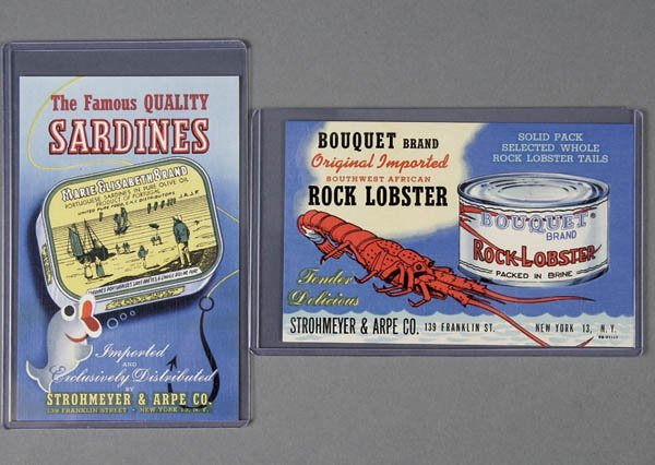 21: 2 LINEN ADVERTISING POSTCARDS sardines and lobste