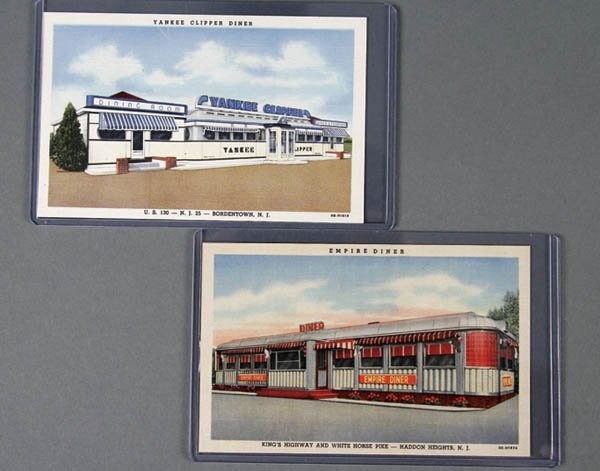 22: 2 LINEN ADVERTISING POSTCARDS diners in NJ. Mint