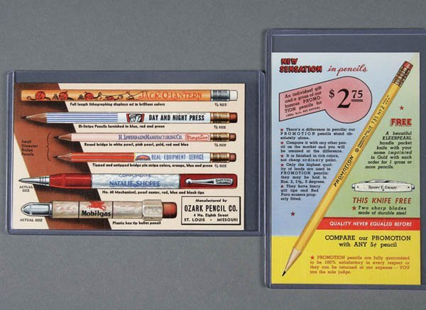 23: 2 LINEN ADVERTISING POSTCARDS pencils, one for a