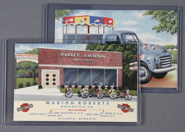 24: 2 LINEN ADVERTISING POSTCARDS Merry Go Round Truc