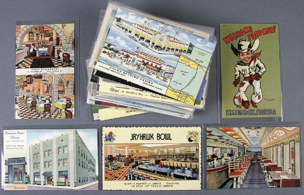 95: APPROX. 112 LINEN ADVERTISING POSTCARDS buildings