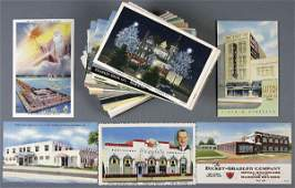 97: APPROX. 100 LINEN ADVERTISING POSTCARDS architect