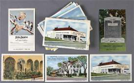 98: APPROX. 100 LINEN ADVERTISING POSTCARDS architect