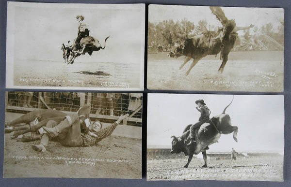 677: APPROX. 100 REAL PHOTO POSTCARDS rodeo: bronco, b