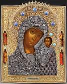 A LARGE SPECTACULAR RUSSIAN ICON OF THE KAZAN MOG