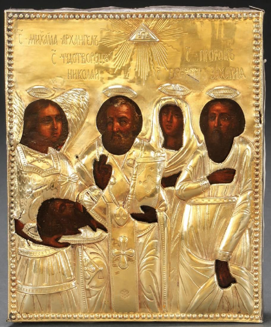 A RUSSIAN ICON OF SELECTED SAINTS, 18TH CENTURY