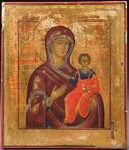 FINE RUSSIAN ICON OF THE MOTHER OF GOD 18TH C.