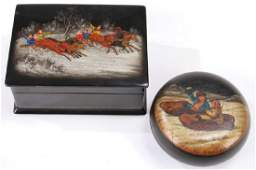 A PAIR OF RUSSIAN LACQUERWARE BOXES