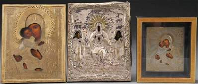 THREE RUSSIAN ICONS OF THE MOTHER OF GOD, 19TH C