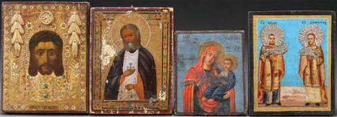 A GROUP OF RUSSIAN AND GREEK ICONS
