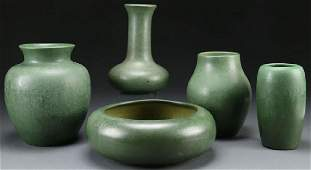 5 PC GROUP OF HAMPSHIRE ARTS & CRAFTS POTTERY