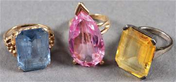 TWO LADIES GOLD COCKTAIL RINGS