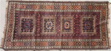 THREE TURKISH BALOUCH HAND WOVEN ORIENTAL RUGS