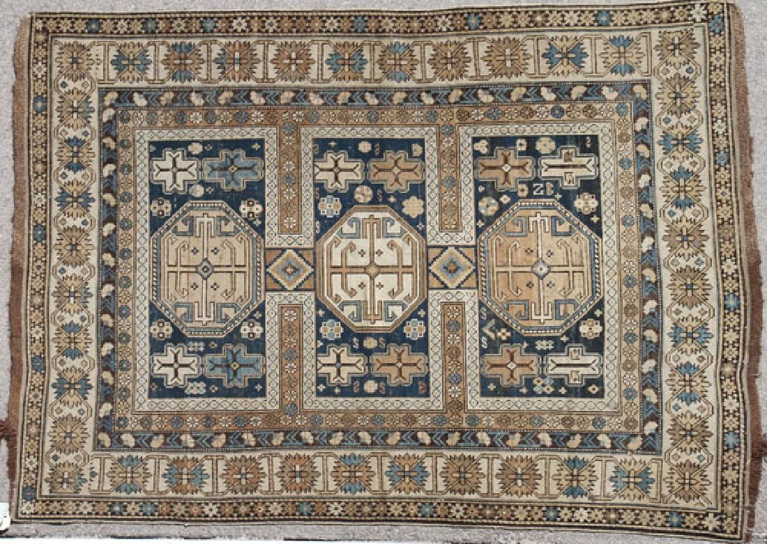 TWO CAUCASIAN HAND WOVEN ORIENTAL RUGS