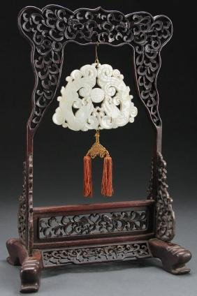 A Chinese Hanging White Jade Chime Ornament