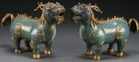 Pr Chinese Cloisonne Gilt Bronze Foo Dogs