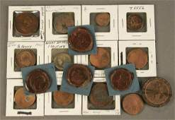 443 A GROUP OF TOKENS AND COINS including four wax se