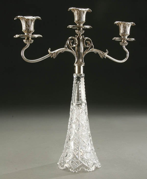 921: ART NOUVEAU SILVERED MOUNTED CUT GLASS CANDELABRA