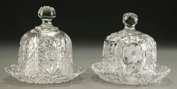 924: PAIR AMERICAN CUT GLASS COVERED BUTTER DISHES BRI
