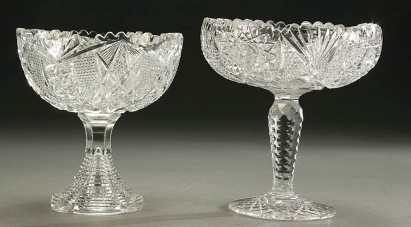 926: A PAIR AMERICAN BRILLIANT CUT GLASS COMPOTES earl