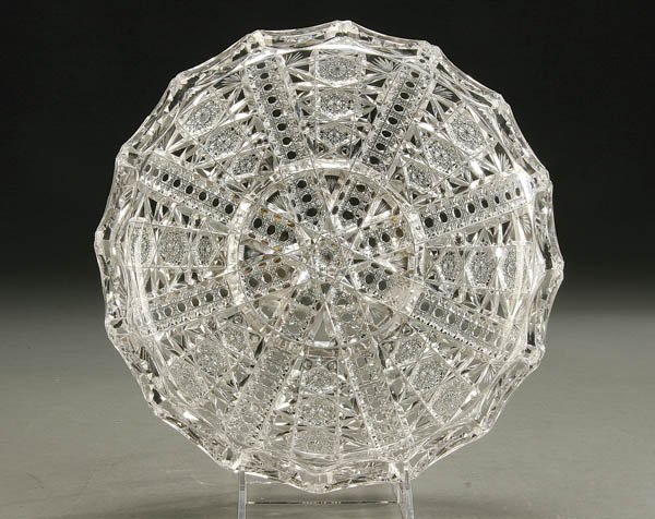 927: A FINE HAWKES CUT GLASS LOW BOWL with hobstar and