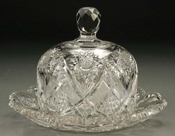 928: HAWKES CUT GLASS QUEENS PATTERN  BUTTER DISH BASE