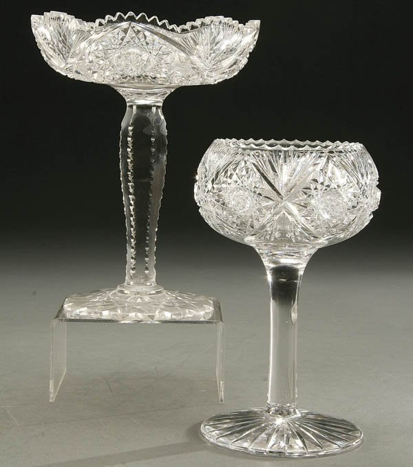 933: A PAIR OF AMERICAN BRILLIANT CUT GLASS COMPOTES e
