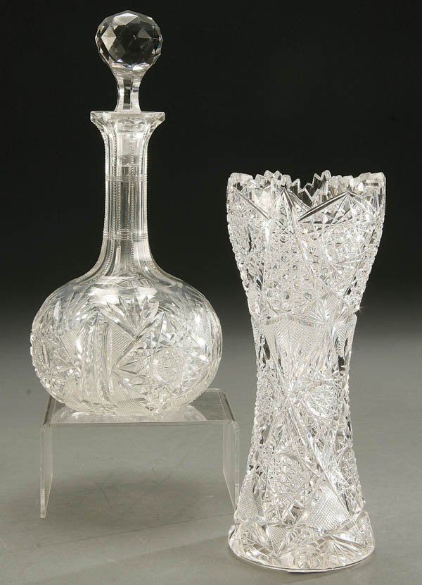 934: AN AMERICAN BRILLIANT CUT GLASS VASE AND DECANTER
