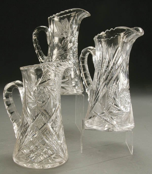 935: 3 CUT GLASS TABLE PITCHERS early 20th century; wi