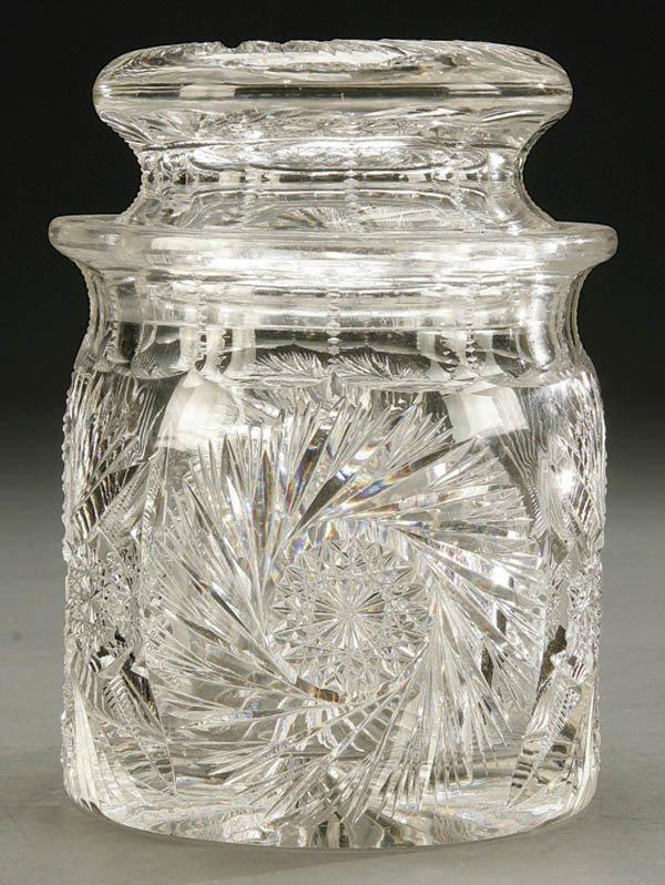 942: AMERICAN BRILLIANT CUT GLASS COVERED CRACKER JAR