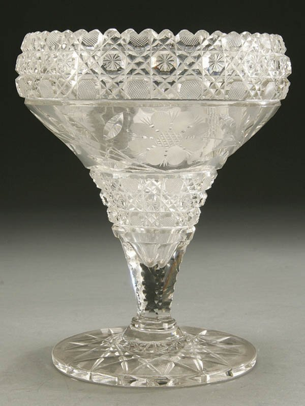 943: AN AMERICAN BRILLIANT CUT GLASS FLOWER VASE early
