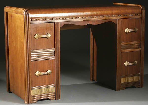 1512A: AN ART DECO WALNUT WATERFALL VANITY/DESK with 4