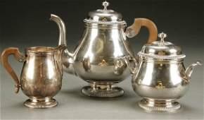 1539 A GOOD FRENCH 3PIECE CHRISTOFLE SILVER TEA SET m
