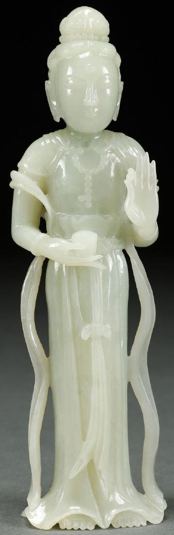 CHINESE CARVED WHITE JADE KWAN YIN, QING DYNASTY