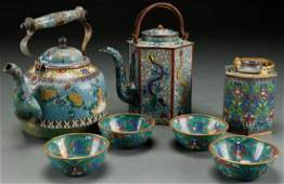 A 7PC GROUP OF VINTAGE CHINESE ENAMELED CLOISONNE
