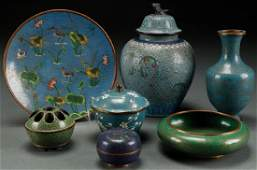 A SEVEN PIECE GROUP OF VINTAGE CHINESE CLOISONNÉ