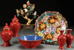 A SEVEN PIECE GROUP OF CHINESE CLOISONNE