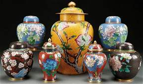 A SEVEN PIECE GROUP OF CHINESE ENAMELED CLOISONNE