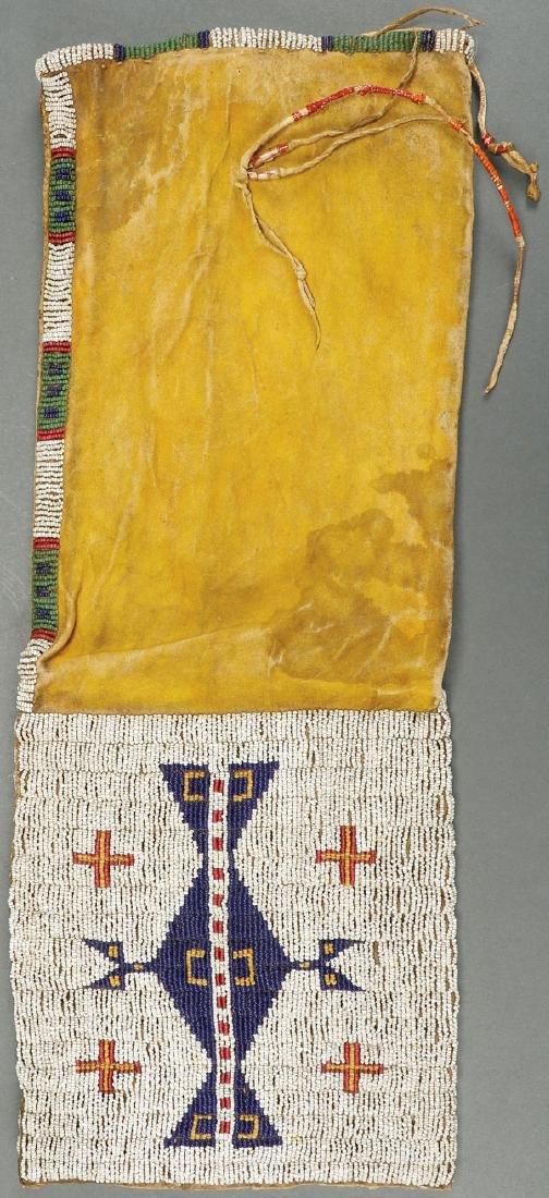A PLAINS BEADED PIPE BAG, POSSIBLY KIOWA, 19TH C