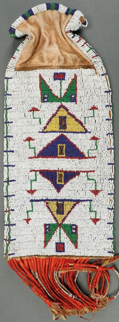 A SIOUX BEADED AND QUILL PIPE BAG, CIRCA 1890